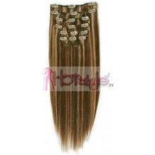 HOTstyle Clip in vlasy 40cm Remy pravé lidské AAA - tmavý melír