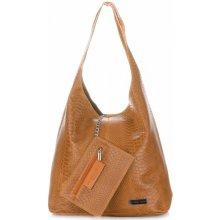 195b16aee Vittoria Gotti velká dámská kožená kabelka Shopper Aligátor zrzavá