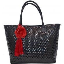 Lakovaná kabelka FIORALBA s růží černá + červená růže