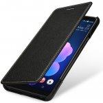 Pouzdro StilGut® kožené Book Type bez klipu HTC U12+ černé