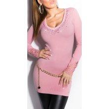 e288d0147a5 Koucla Dámský dlouhý svetr s krajkou a kamínky růžová