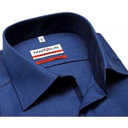 Marvelis Modern Fit – modrá košile s vetkaným vzorem a vnitřním límcem -  prodloužený rukáv de05044b32