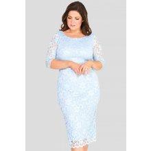 6b5aaf9b68e Společenské krajkové šaty s 3 4 rukávem modrá