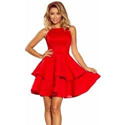 c0a9f6db526 Dámské společenské šaty bez rukávů s krajkou a dvojitou sukní červená