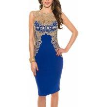 f3ed8a099559 KouCla dámské společenské šaty bez rukávů zlatá krajka modrá