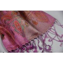 Jemná velká hedvábná šála Jamawar růžová s ornamenty