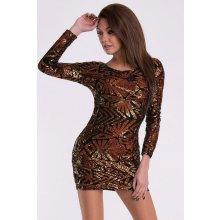 Eva Lola dámské flitrové mini šaty hnědá b3fee85817c