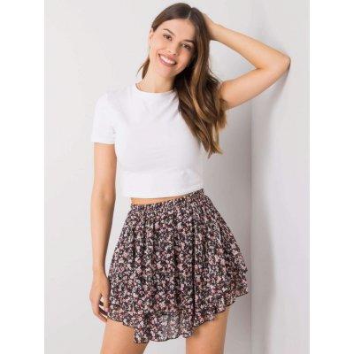 Mini sukně s květinami jedna černá