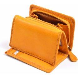 3ea4b527727 Dámská kožená peněženka na výšku menší se zipem na mince žlutá