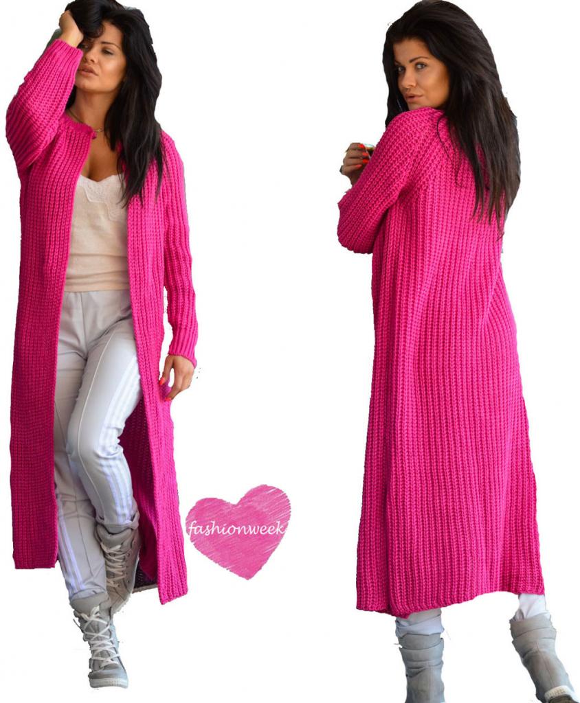 Fashionweek Luxusní neobvyklé pletené dlouhé svetry kabáty MAXI SV06  Amarant od 759 Kč - Heureka.cz 55f082cd70