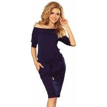 Numoco dámské sportovní šaty netopýří střih s kapsami na zavazování v pase  puntíkaté tmavě modrá 2fbdb32988