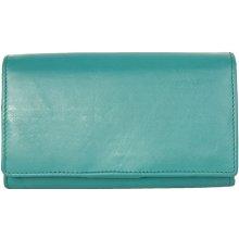 Klasická tyrkysová kvalitní kožená peněženka HMT