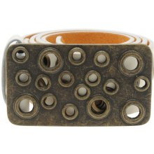 F.Rocks Gold Eyelet Belt Mens White