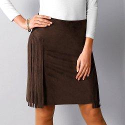 Blancheporte dámská semišová sukně s postranními třásněmi B785568 hnědá e9c7a4700c