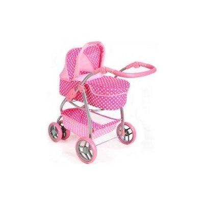 Kočárek pro panenky multifunkční - JASMÍNKA puntíky světle růžový - PlayTo