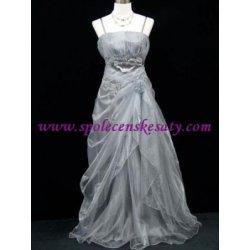 f88749f20608 Stříbrné dlouhé svatební společenské plesové šaty s organzou pro plnoštíhlé  č.4096