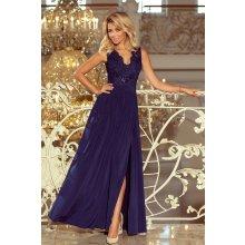 aff84675b107 Numoco maxi šaty bez rukávů s vyšívaným výstřihem 215-2 tmavě modrá