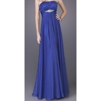 Modré dlouhé luxusní šifonové šaty bez ramínek svatební ...