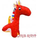 Hencz Toys Edukační hračka s chrastítkem ŽIRAFKA červená
