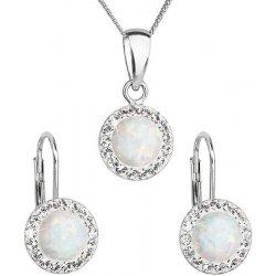 bd1b75af5 Evolution Group sada šperků se syntetickým opálem a krystaly Swarovski  náušnice a přívěšek bílé kulaté 39160.1