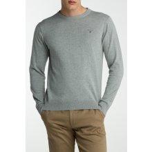 Gant Pánský svetr LT. WEIGHT COTTON CREW šedá S