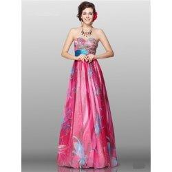 Růžové dlouhé společenské letní šaty bez ramínek na svatbu ... e14d6840df