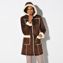 Blancheporte Kabát ve vzhledu ovčí kůže čokoládová