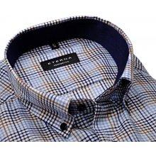 Comfort Fit – Košile s modro-hnědým kárem a vnitřním límcem - prodloužený  rukáv d5216f7a26