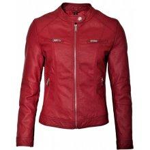 MADE IN ITALY Dámská koženková bunda červená
