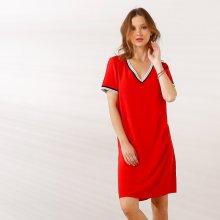 5dc5bc921 Blancheporte jednobarevné šaty se sportovními pruhy červená