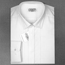 beec819d26a Pánská Luxusní košile AMJ Bílá JDAP018SAT dlouhý rukáv prodloužená délka  zdobený límec