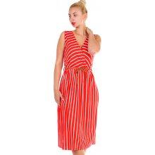 Dámské pruhované šaty s páskem zeštíhlující efek 330203 červená 508e4a50593