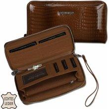 4e8d6fbf40 Jennifer Jones hnědá kožená dámská peněženka na zip 5295