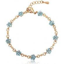 Swarovski Elements náramek THYME BLUE zlacená ocel, pomněnkové krystaly OI_205019_blue