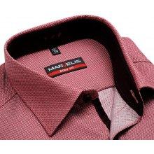 Marvelis Body Fit – červená košile s vetkaným vzorem 623932786e