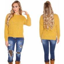 Koucla Dámský pletený svetr s kapsami hořčicově žlutý 745c2b3c61