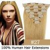 CLIP IN (klipy) pravé lidské vlasy remy 45cm odstín 27 tmavá blond 7 částí 70g (CLIP IN (=klipy) barva 27 tmavá blond REMY pravé lidské vlasy 45 cm - prodlužování vlasů)