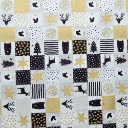 25d5012cfb57 Vánoční bavlněná látka patchwork s jeleny zlato-béžový alternativy ...