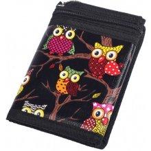 Dámská textilní peněženka s motivem sov a řetízkem