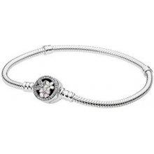 Pandora stříbrný náramek s květinovým zapínáním 590744CZ