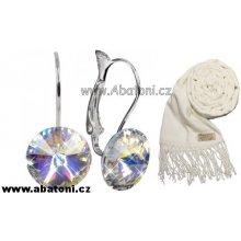 Carlo Romani smetanová krémová pašmína P36 + Swarovski Stříbrné Ag 925-1000 Náušnice Rivoli Crystal AB bílá smetanová krémová