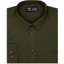 b18e451f5 Luko pánská myslivecká košile tmavě zelená khaki jednobarevná 022244 dlouhý  rukáv regular fit