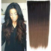 Clip in vlasy 60 cm dlouhý pás - ombre styl černá - hnědá 1bt8
