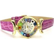 Murano s koženým páskem světle fialové zlatý kov Venice