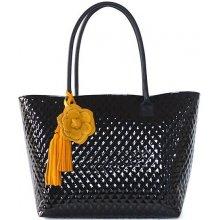 Lakovaná kabelka FIORALBA s růží černá + žlutá růže