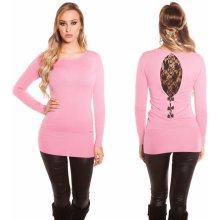 b0eeb7b3b77f Koucla dámské pletené šaty s krajkou a mašličkami růžová