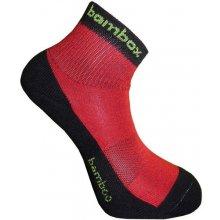 BX-2 FUN bambusové kotníčkové ponožky BAMBOX černá / červená