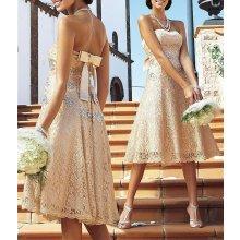 Apart Luxusní krajkové svatební šaty v karamelové barvě