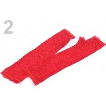 Společenské rukavice délka 34 cm krajkové bez prstů červená