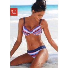 s.Oliver RED LABEL Beachwear Bikiny s kosticemi modrá-červená s proužky